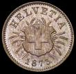 London Coins : A166 : Lot 2905 : Switzerland 5 Rappen 1873B KM#5 UNC and nicely toned with good underlying lustre
