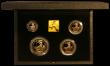 London Coins : A166 : Lot 524 : Britannia Gold Proof Set 1991 Four coin set FDC in the black case of issue with certificate