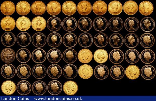 Sovereigns (55) spectacular Queen Elizabeth II Sovereign Collection by Harrington and Byrne 1957, 1958, 1959, 1962, 1963, 1964, 1965, 1966, 1967, 1968, 1974, 1976, 1978.  Proofs 1979, 1980, 1981, 1982, 1983, 1984, 1985, 1986, 1987, 1988, 1989, 1990, 1991, 1992, 1993, 1994, 1995, 1996, 1997, 1998, 1999, 2000, 2001. Standard 2002. Proofs 2003, 2004. Standard 2005. Proofs 2006, 2007, 2008, 2009, 2010, 2011. Standard 2012. Proofs 2013, 2014, 2015 IRB, 2015 Clark. Standard 2016 Clark. Proof 2016 Butler, 2017 200th. Standard 2017 Mint Mark generally BU - FDC in a three tray 55 coin display box with one large Harrington and Byrne certificate : English Cased : Auction 166 : Lot 783