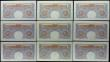 London Coins : A167 : Lot 1332 : One Pounds Peppiatt World War II Emergency B249 Blue/Pink Second period issues 1940 (9) a consecutiv...
