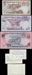 London Coins : A167 : Lot 1570 : Malta Bank Centrali Franklin Mint Collectors Set Pick CS1 of 3 notes - 1, 5 and 10 Lira. All with Ma...