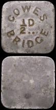 London Coins : A167 : Lot 1730 : Halfpenny Tokens - Isle of Wight Cowes Bridge (2) both Uniface undated the first 31mm Good Fine, the...