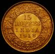 London Coins : A167 : Lot 1951 : India 15 Rupees Gold 1918 KM#525 NEF, a rare one-year type, a very pleasing problem-free example and...