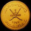 London Coins : A167 : Lot 1989 : Oman 75 Omani Rials Gold AH1397 (1976) World Conservation Series Obverse National Arms above date, R...