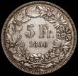 London Coins : A167 : Lot 2027 : Switzerland 5 Francs 1850A KM#11 EF and lightly toned