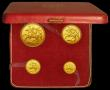 London Coins : A167 : Lot 274 : Isle of Man Proof Set 1973 (4 coin gold set) comprising Five Pounds, Two Pounds, Sovereign and Half ...