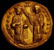 London Coins : A167 : Lot 334 : Byzantine Gold Histamenon Romanus III (1028-1034) Constantinople Mint +his XIS REX REGNANTInM Christ...