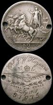 London Coins : A168 : Lot 1013 : Engraved (2) Italy 2 Lire 1914 engraved Cpl.J.W.Hayward Royal Air Force Italy 1918. with logo, 51975...