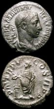 London Coins : A168 : Lot 1066 : Roman Denarius (3) Severus Alexander 226AD. Rev.Severus Alexander standing left, sacrificing over al...