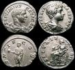 London Coins : A168 : Lot 1067 : Roman Denarius Geta (4) Early 209AD Rev.Geta standing left holding globe and short sceptre RIC 61a R...