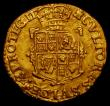 London Coins : A168 : Lot 1078 : Gold Crown Charles I Group B, Second Bust, in ruff, armour and mantle S.2711 mintmark Castle Near EF...