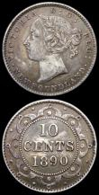 London Coins : A168 : Lot 1987 : Canada 5 Cents 1922 KM#29 UNC and lustrous, Canada - Newfoundland 10 Cents 1890 KM#3 About VF with s...