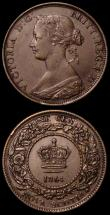 London Coins : A168 : Lot 2075 : Newfoundland Five Cents 1945C KM#19a EF with some minor hairlines, Nova Scotia One Cent 1864 KM#8.2 ...