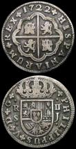 London Coins : A168 : Lot 2089 : Spain 2 Reales (2) 1722S Seville mint KM#307 Fine, the reverse better, 1736 AP, mintmark S, Seville ...