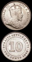 London Coins : A168 : Lot 2094 : Straits Settlements Ten Cents 1903 KM#21 NEF/EF and lustrous, Malaya 20 Cents 1945 KM#5a A/UNC and l...