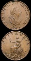London Coins : A168 : Lot 2139 : Farthings (2) 1799 Peck 1279 UNC and attractively toned with a few small spots, 1807 Peck 1399 A/UNC...