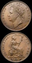 London Coins : A168 : Lot 2141 : Farthings (2) 1828 Peck 1443 UNC or near so with traces of lustre and a carbon spot on the obverse, ...