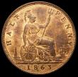 London Coins : A168 : Lot 2213 : Halfpenny 1863 Small Upper section to 3 Freeman 294 dies 7+G UNC and with around 50% lustre, Ex-Lond...