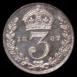 London Coins : A168 : Lot 2345 : Threepence 1887 Jubilee Head Proof ESC 2097, Bull 3437, Davies 1331E dies 2A Two lines each side of ...