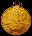 London Coins : A168 : Lot 885 : USA Twenty Dollars 1881 S with a gold mount attached