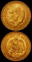 London Coins : A169 : Lot 1020 : Mexico Gold (2) 5 Pesos (2) 1920 KM#464 NEF, 1955 KM#464 A/UNC