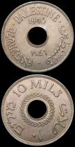London Coins : A169 : Lot 1037 : Palestine 10 Mils (2) 1940 KM#4 EF toned with light contact marks, 1946 KM#4 EF/GEF with some dirt i...