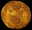 London Coins : A169 : Lot 1177 : Gold Crown Charles I Second Bust in ruff, armour and mantle, no inner circles, S.2711 mintmark Castl...