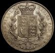 London Coins : A169 : Lot 1303 : Crown 1845 Cinquefoil stops on edge ESC 282, Bull 2564 VF or slightly better for wear, with some hea...