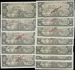 London Coins : A169 : Lot 134 : Cuba 1 Peso Specimen notes (12) various dates 1968, 1969, 1970, 1972, 1978, 1979, 1980, 1981, 1982, ...