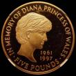 London Coins : A169 : Lot 1434 : Five Pound Crown 1999 Diana Memorial S.L6 Gold Proof in an NGC holder and graded PF64 Ultra Cameo