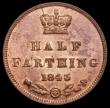 London Coins : A169 : Lot 1495 : Half Farthing 1843 Peck 1593, a most pleasing and lustrous example the obverse with around 40% lustr...