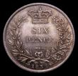 London Coins : A169 : Lot 1807 : Sixpence 1835 ESC 1676, Bull 2508 a lustrous and choice example, the obverse with attractive blue to...