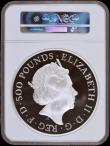 London Coins : A169 : Lot 466 : Five Hundred Pounds 2019 Britannia One Kilo of .999 Silver Proof, Reverse: Britannia with shield fac...