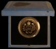 London Coins : A169 : Lot 475 : Five Pound Crown 1990 Queen Mother 90th Birthday Gold Proof S.L3 FDC in the blue Royal Mint box of i...