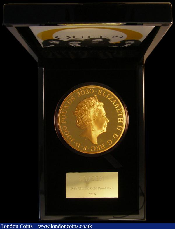One Thousand Pounds 2020 (Pop Group) Queen - Rock Royalty, One Kilo of .999 Gold, and 100mm diameter, this imposing and impressive coin features an innovative reverse design, including an arrangement of each of the instruments played by each band member, the design fittingly reflecting the grandiose nature of some of their greatest songs. The design personally approved by band members Brian May and Roger Taylor, FDC in the impressive box of issue with certificate number 6 accompanied by an informative 16-page booklet. Currently unlisted by the Standard Catalogue, only 6 examples have been issued of this iconic coin, which will certainly become a sought after piece. We note all the smaller denomination Queen-related coins issued are already completely sold out by the Royal Mint. A must for both the collector of large gold issues, and the discerning Queen fan alike. A mintage of just six is the lowest we can recall seeing in the Royal Mint modern series, in addition the Rock Band Queen have sold over 300 million records which surely makes this lot a blue chip investment grade item. : English Cased : Auction 169 : Lot 565