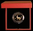 London Coins : A169 : Lot 783 : Hong Kong $1000 1987 Year of the Rabbit KM#58 Gold Proof FDC in the red case of issue with certifica...