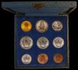 London Coins : A169 : Lot 824 : Vatican City Mint Set 1929 9 coin set with the 100 Lire Gold issue, first year of issue KM MS1 10,00...