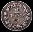 London Coins : A169 : Lot 848 : Belgium 2 Francs 1840 Position A KM#9.1 VG or better with scratches under the 2 on the reverse