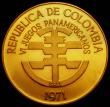 London Coins : A169 : Lot 884 : Colombia 150 Pesos Gold 1971 6th Pan-American Games, Reverse: Symbols on raft within an inner circle...