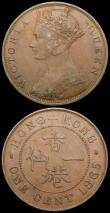 London Coins : A169 : Lot 971 : Hong Kong One Cent (3) 1865 KM#4.1 GVF/NEF, 1904H KM#11 NEF, 1905H KM#11 EF