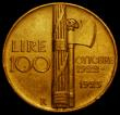 London Coins : A170 : Lot 1092 : Italy 100 Lire Gold 1923R First Anniversary of the Fascist Government, Matte Finish KM#65 NEF/GVF wi...