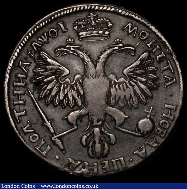 Russia Half Rouble 1725 Peter the Great, Obverse: Laureate Bust right, Reverse: Crown above double-headed eagle KM#161.2, weight 14.02 grammes, approaching VF with an even grey tone and rare thus : World Coins : Auction 170 : Lot 1167