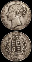 London Coins : A170 : Lot 1443 : Crowns (2) 1844 Cinquefoil stops on edge, ESC 281, Bull 2562, Fine with grey tone, 1847 Young Head E...