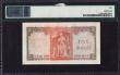 London Coins : A170 : Lot 146 : Ceylon Central Bank 5 Rupees Pick 54 dated 16th October 1954 serial number G/17 687177. A stunning B...