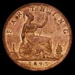 London Coins : A170 : Lot 1515 : Farthing 1895 Bun Head Freeman 570 dies 7+F, EF and lustrous, the obverse with a stain on the Queen&...