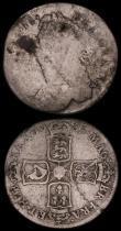 London Coins : A170 : Lot 1956 : Shilling 1685 ESC 1068, Bull 760 Poor/VG, Halfpenny 1694 E's on obverse appear similar to B...