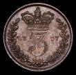 London Coins : A170 : Lot 2420 : Threepence 1877 ESC 2083, Bull 3421, UNC or near so and attractively toned with minor cabinet fricti...