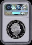 London Coins : A170 : Lot 521 : Five Pound Crown 2017 Queen Elizabeth II Sapphire Jubilee Silver Proof Piedfort S.L51 Reverse: The I...