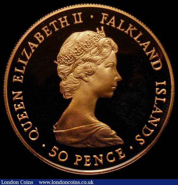 Falkland Islands Fifty Pence 1982 Liberation of the Falkland Islands Gold Proof KM#18b, the obverse with the lightest of toning on the field visible under magnification, otherwise FDC, uncased, an extremely rare and highly desirable issue with a mintage of just 25 pieces : World Coins : Auction 170 : Lot 990
