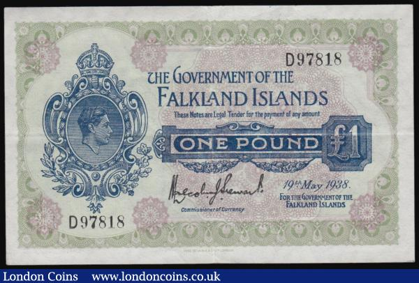 Falkland Islands one pound dated 19th May 1938, George VI portrait, Pick5, VF to GVF : World Banknotes : Auction 171 : Lot 111